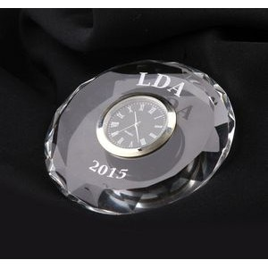 "Crystal Faceted Clock Paperweight (3"")"
